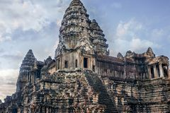 Entrance to the Tower structures of Angkor Wat. Siem Reap, Cambodia Royalty Free Stock Image