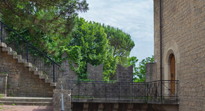 Entrance to the tower . View of the entrance to the tower and the stone staircase to the battlements Royalty Free Stock Images