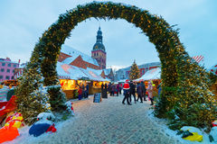 Entrance to the traditional Christmas market in Riga Stock Images