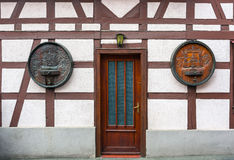 Entrance to traditional half-timbered house Stock Image