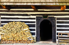 Entrance to traditional old cottage in Slovakia Royalty Free Stock Image