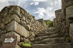 Entrance to the trail in Machu Picchu Stock Images