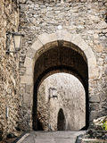 Entrance to the Trencin castle, Slovakia Stock Images