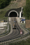 At entrance to the tunnel. At entrance to the automobile tunnel through a rock Stock Photography