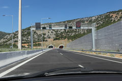 Highway and tunnel in Greece Royalty Free Stock Image