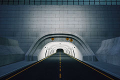 The entrance to the tunnel at night Stock Image