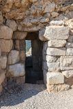 The entrance to the tunnel passing in the wall in Nimrod Fortress located in Upper Galilee in northern Israel on the border with L stock photo
