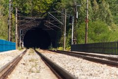 Entrance to the tunnel on the railway bridge. Traveling by train across Europe. Stock Photos