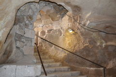 The entrance to the underground city Stock Images