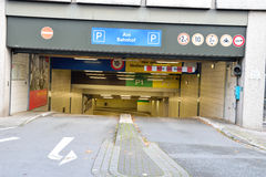 Entrance to underground parking german garage stock photo