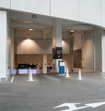 Entrance to underground parking lot with advertising area royalty free stock image