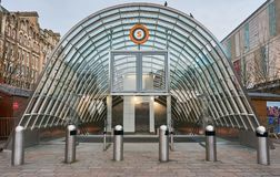 An entrance to an underground station. An entrance structure to an underground station at St Enoch in city centre of Glasgow Royalty Free Stock Photo