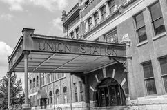 Entrance to Union Station in Black and White royalty free stock image