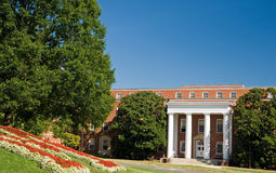 Entrance to university building. A view of the entrance to a university campus building on a bright and sunny morning. University of Maryland royalty free stock image