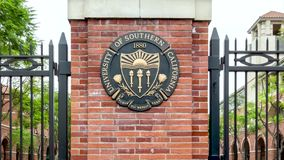 Entrance to the University of Southern California stock video