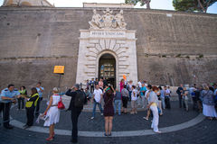 Entrance to the Vatican museum. VATICAN - CIRCA SEPTEMBER 2014: Entrance to the Vatican museum royalty free stock image
