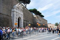 Entrance to the Vatican museum on May 30, 2014 stock photos