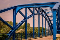 Blue steel bridge royalty free stock photography