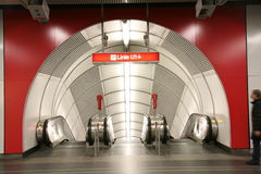 Entrance to the Vienna subway. Entrance to the escalators leading down to the platform of the subway Stock Images