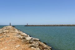 Entrance to the Vilamoura harbor Stock Images