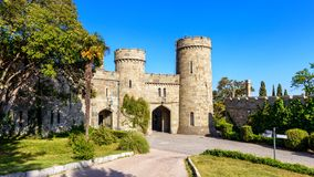 Entrance to the Vorontsov Palace, Crimea. Russia. Vorontsov Palace is one of the best-known sights of Crimea. Beautiful panoramic view of Crimea landmark royalty free stock image
