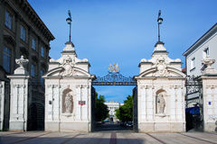 Entrance to the Warsaw University in Poland Stock Photography
