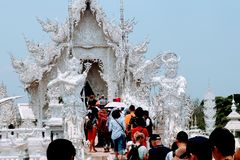 Entrance to the Wat Rhong Khun & x28;White temple& x29;. An image of the entrance to Wat Rhong Khun in Chiang Rai, Thailand Stock Photo