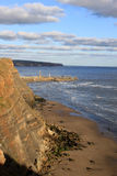 Entrance to Whitby Harbor from Cleveland Way Stock Images