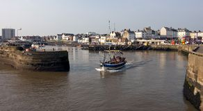 The Entrance to Whitby Harbour. Stock Photo