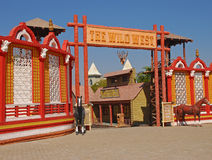 Entrance to Wild West Town. Entrance to Wild West Cowboy Town with Asian twist in Ramoji Film City Stock Photo