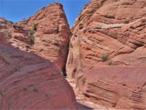 Entrance to Wire Pass Slot Canyon. The trail leading to Wire Pass slot canyon and on to Buckskin Gulch in the Coyote Buttes portion of the Paria Canyon-Vermilion stock images