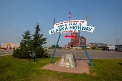 Entrance to the World Famous Alaska Highway, Canada, British Columbia, North America stock images