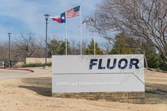 Entrance to  world headquarters of Fluor Corporation in Irving,. IRVING, TX, USA-JAN 14, 2018:Close-up main entrance headquarters of Fluor Corporation Stock Photography