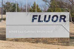 Entrance to world headquarters of Fluor Corporation in Irving,. IRVING, TX, USA-JAN 14, 2018:Close-up main entrance headquarters of Fluor Corporation stock photo