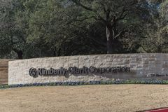 Entrance to  world headquarters of Kimberly-Clark in Irving, Tex. IRVING, TX, USA-JAN 14, 2018: Visitor entrance to world headquarter of Kimberly-Clark. American Royalty Free Stock Images