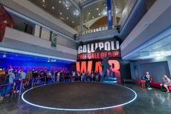 The entrance to the World War One Gallipoli Exhibit, Te Papa museum, Wellington. People queuing to see `Gallipoli, the Scale of our War`, an exhibition at Te stock images