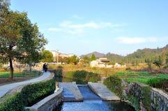 The entrance to Xidi village stream Stock Photos