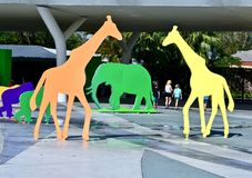 Entrance to Zoo Miami. Colorful life-size cutouts of zoo animals at the entrance to Zoo Miami a popular destination for tourists and locals alike. Photo taken on Royalty Free Stock Photos