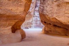 The entrance tot he hidden city of Petra Stock Photos