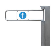Entrance tourniquet, detailed turnstile, stainless steel, arrow Stock Image