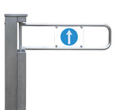 Entrance tourniquet, detailed turnstile, stainless steel, arrow. Sign, isolated closeup, access control concept Stock Photography