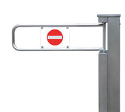 Entrance tourniquet detailed turnstile, stainless steel, red no entry sign, large isolated closeup access control security concept Stock Images