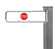 Entrance tourniquet, detailed turnstile, stainless steel, red stop sign, large detailed  closeup, access control concept Royalty Free Stock Image