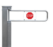 Entrance tourniquet, turnstile stainless steel red. Entrance tourniquet, detailed turnstile, stainless steel, red stop sign, isolated closeup, access control Royalty Free Stock Photography