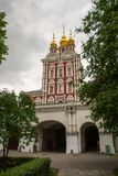 Entrance tower of the monastery, view inside the Novodevichy. Stock Photography