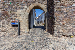 Entrance of the Town gate in the medieval Castelo de Vide fortifications Royalty Free Stock Photography