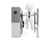 Entrance Tripods Turnstile with 3d Person. 3d Rendering Royalty Free Stock Images