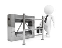 Entrance Tripods Turnstile with 3d Person. 3d Rendering Stock Images