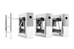 Entrance Tripods Turnstile. 3d Rendering Stock Photography