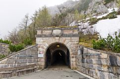 The entrance of the tunnel that goes to the Eagle`s Nest. The entrance to the tunnel leading to the elevator that takes people up to Eagle`s Nest near Royalty Free Stock Image